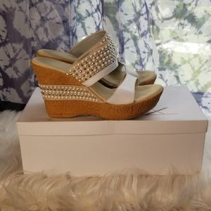Onex White/Silver Cork Wedges